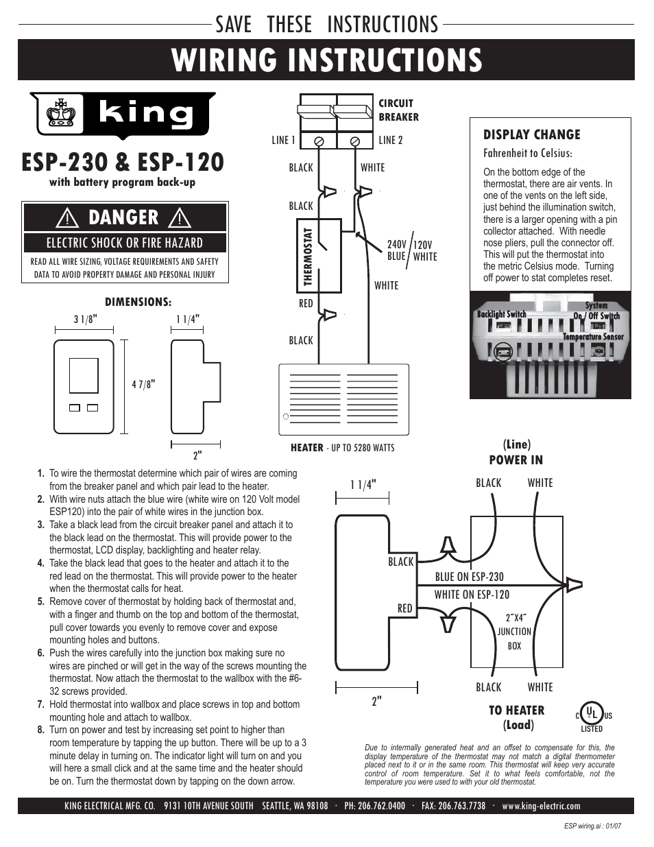 Wiring Instructions Save These Danger King Electric 120v Vs 240v Baseboard Heater Diagram Esp Electronic Programmable User Manual Page 3 4