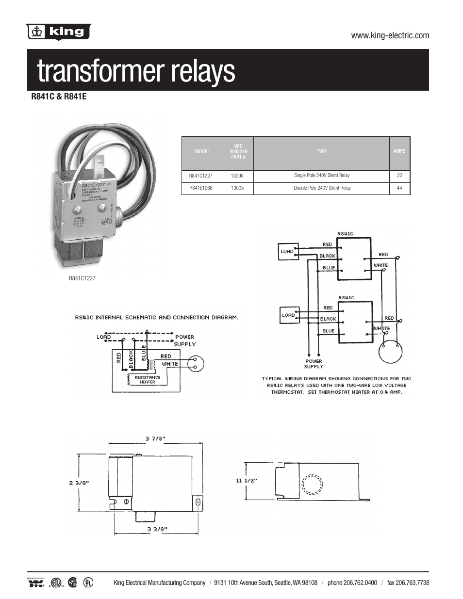 King Electric Transformer Silent Relay User Manual 1 Page Electrical Drawing