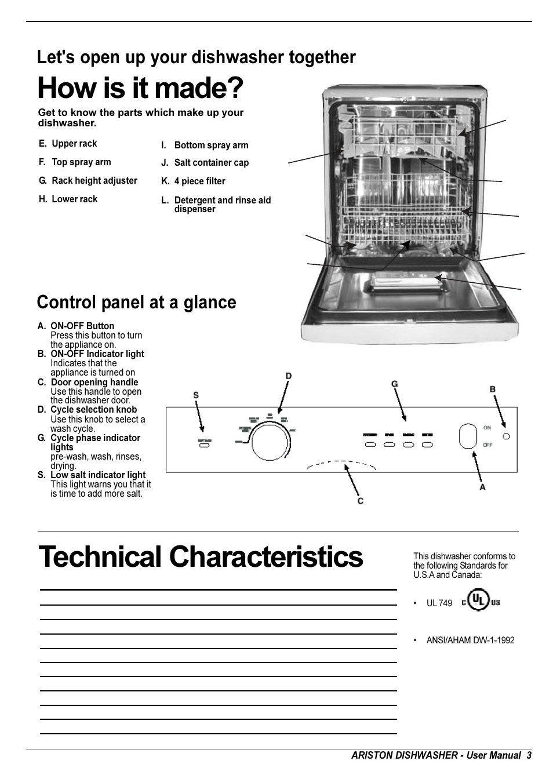 how is it made technical characteristics control panel at a glance rh manualsdir com Li 640 Ariston Dishwasher ariston l63 dishwasher service manual