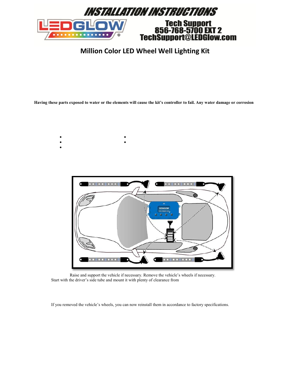 LEDGlow Million Color LED Wheel Well Kit User Manual | 3 pages