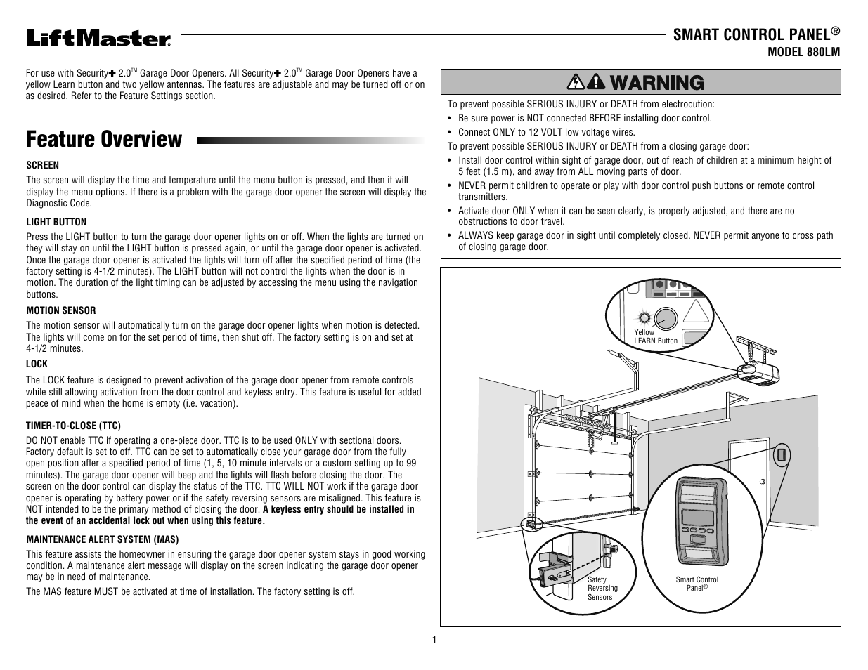 Liftmaster 880lm smart control panel user manual 4 pages rubansaba