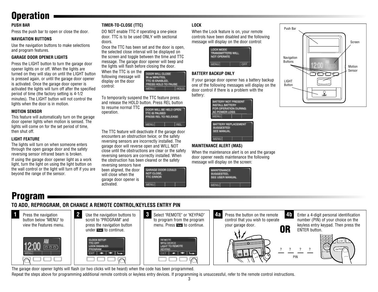 Operation Push Bar Navigation Buttons Liftmaster 880lm