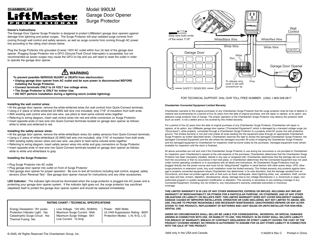 Liftmaster 990lm Surge Protector User Manual 3 Pages