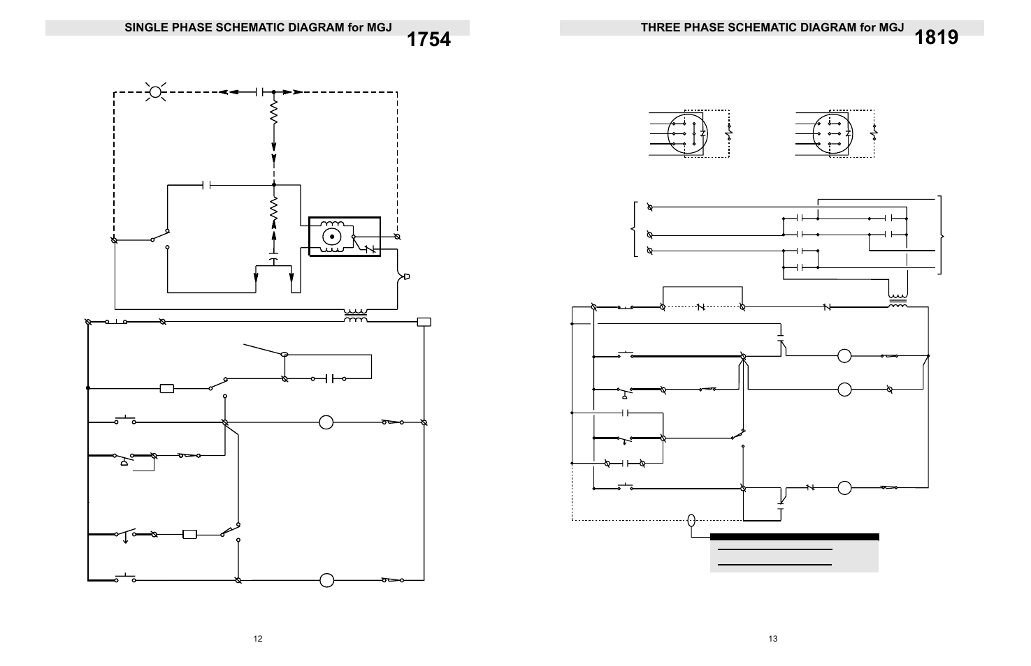 Thre phase schematic diagram for mgj, Single phase schematic diagram for  mgj, Three phase schematic diagram for mgj | LiftMaster LGJ Light-Duty  Gear-Reduced Jackshaft Operator for Rolling Grilles and Shutters User Manual  |Manuals Directory