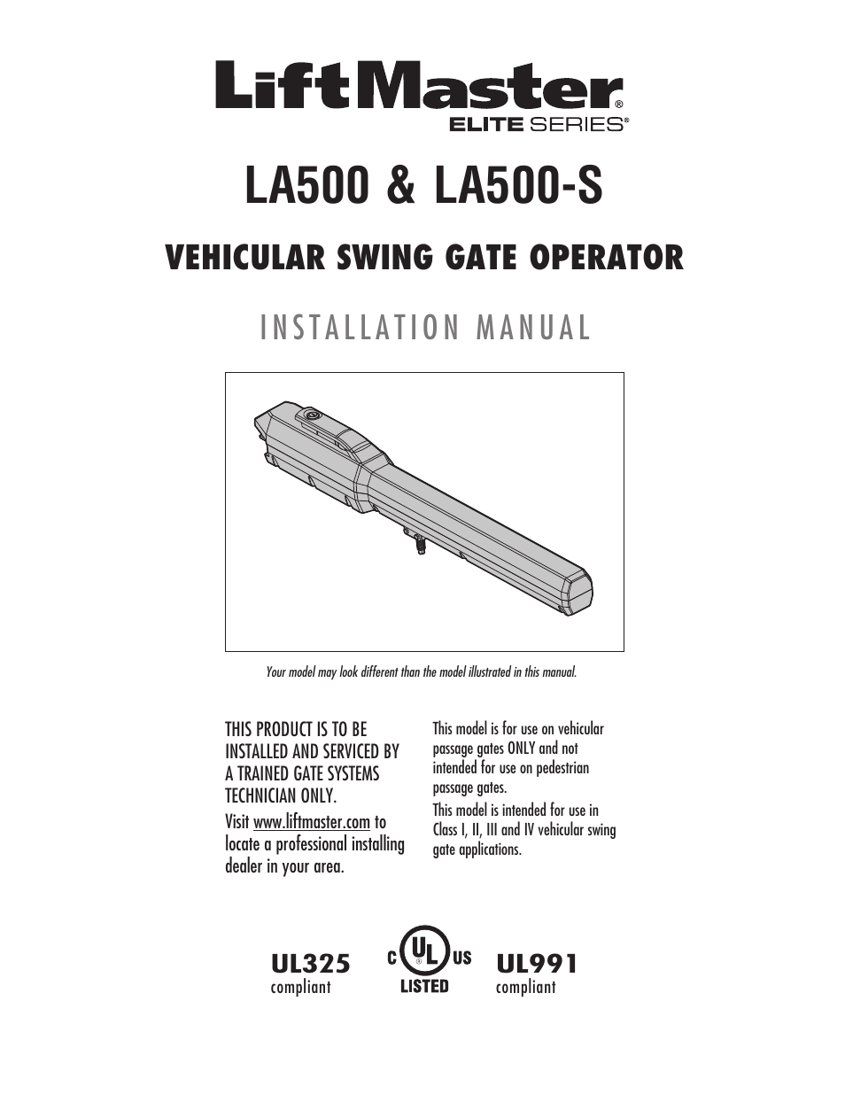 Liftmaster La500 Residential Light Commercial Swing Gate Operator Openner Schematics User Manual 52 Pages