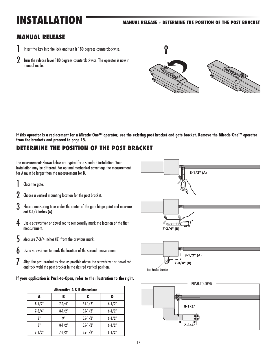 Installation Manual Release Determine The Position Of The