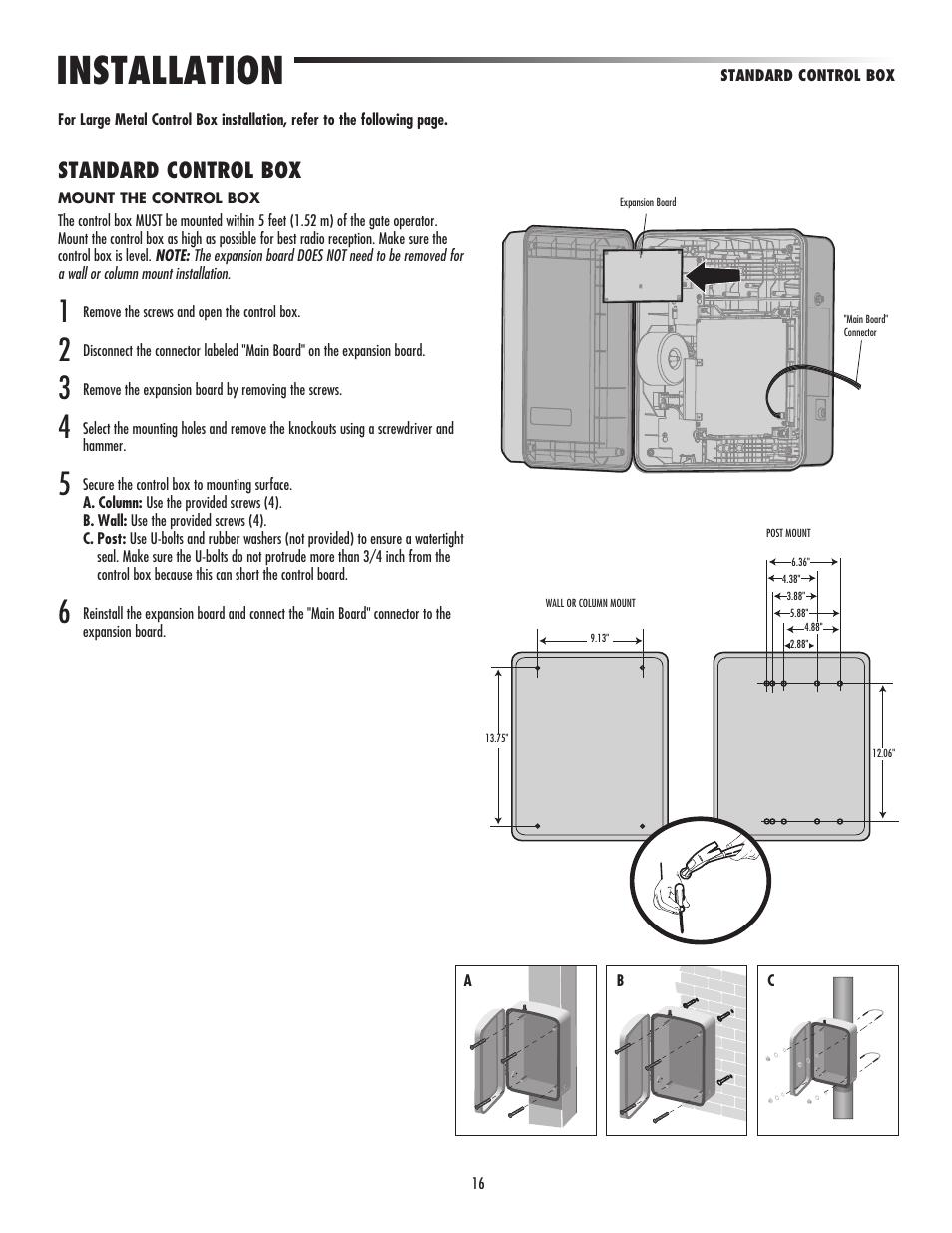 Standard Control Box Installation Liftmaster La500