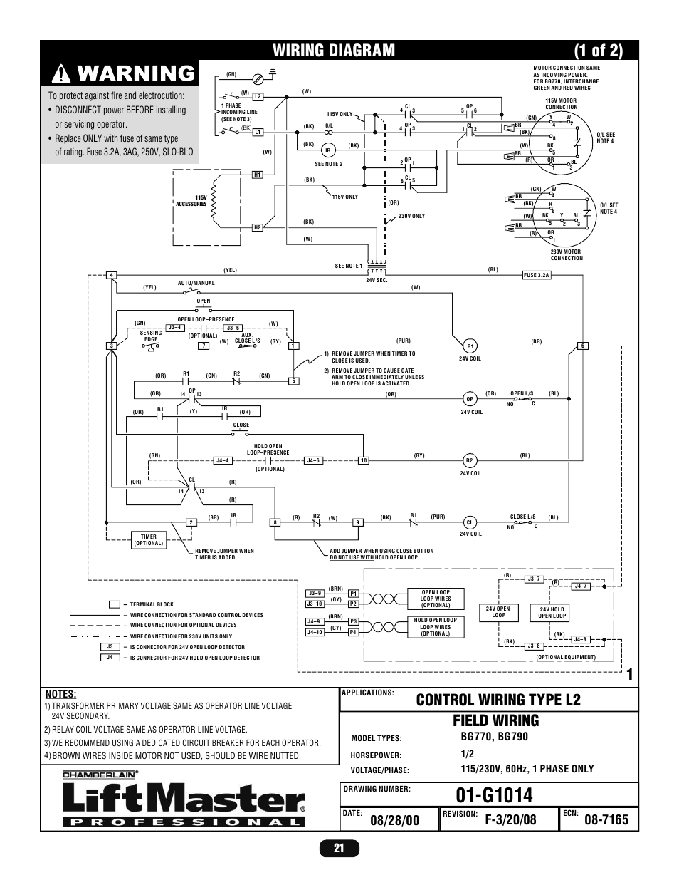 wiring diagram g1014 1 of 2 liftmaster bg770 industrial duty rh manualsdir com