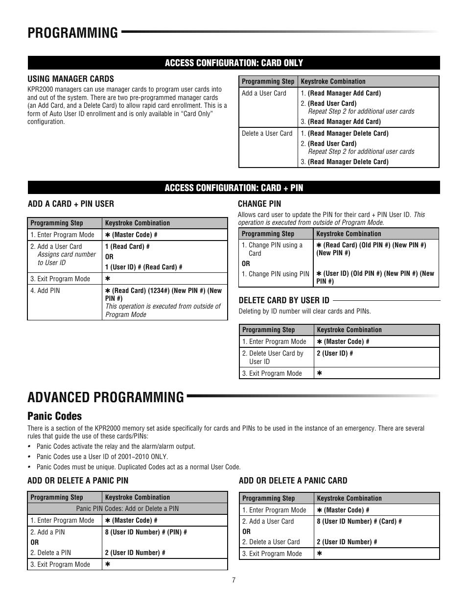 Advanced programming, Programming, Panic codes | LiftMaster KPR2000