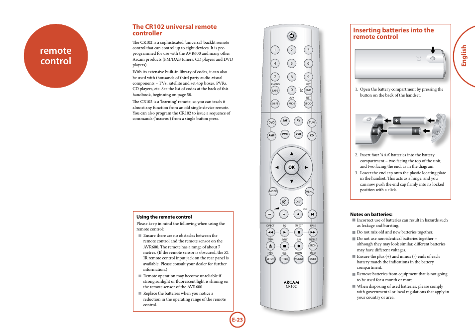 Remote control, The cr102 universal remote controller