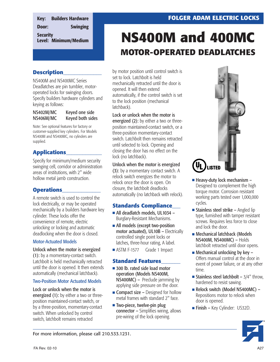 Southern Folger NS400M and 400MC MOTOR-OPERATED DEADLATCHES User Manual | 4  pages