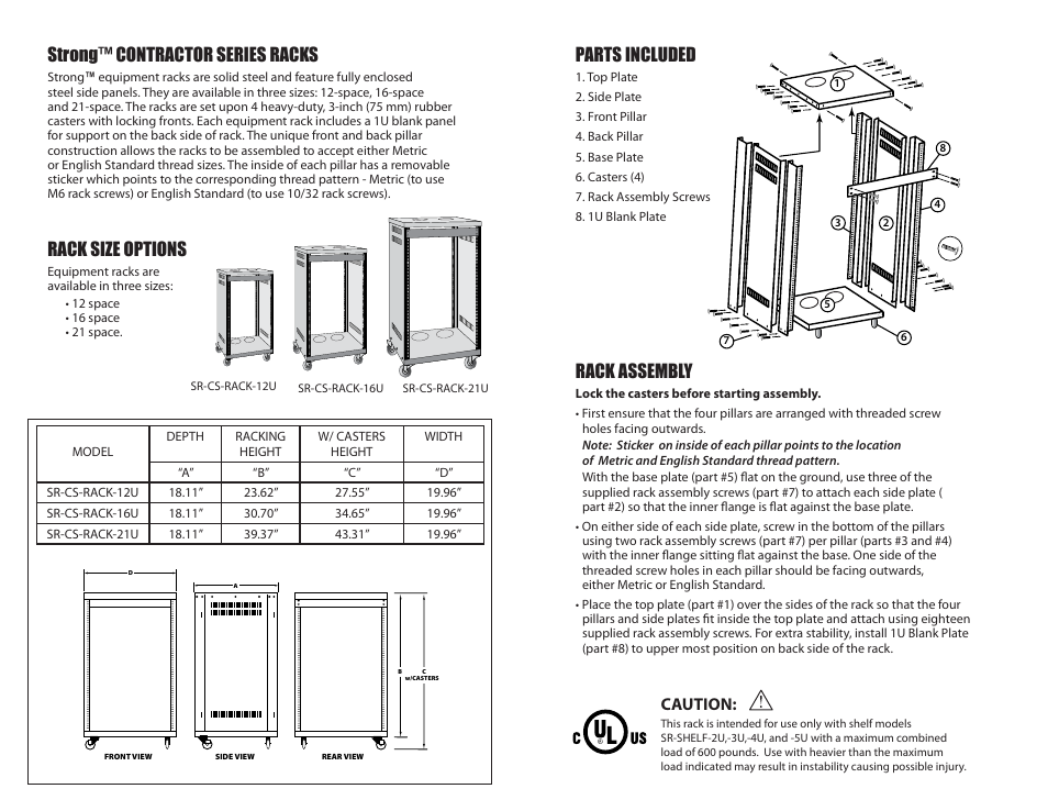 Strong™ contractor series racks, Rack size options, Parts