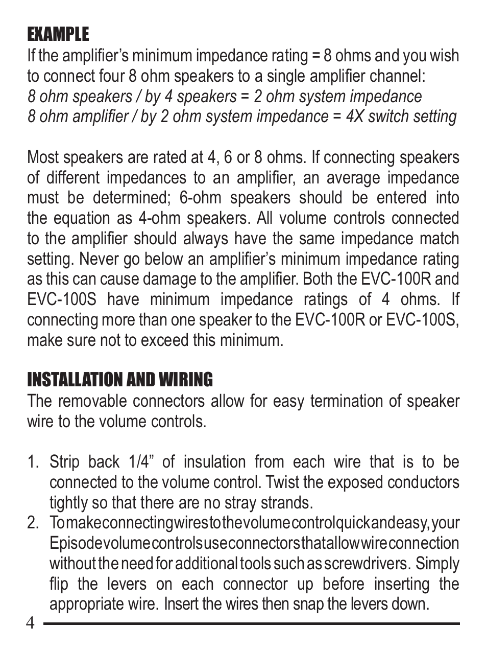 Staub Electronics Evc 100s Whla Episode 100 W Sliding Volume How To Wire A Switch Control User Manual Page 4 8 Also For 100r Rotary