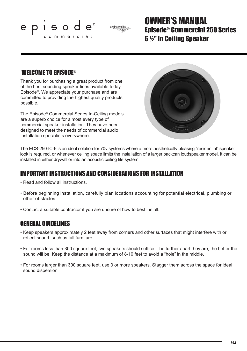 Staub Electronics Ecs 250 Ic 6 Episode Commercial Series In Ceiling 25 70 Volt Two Way Speaker With 1 2 Woofer Each User Manual 4 Pages