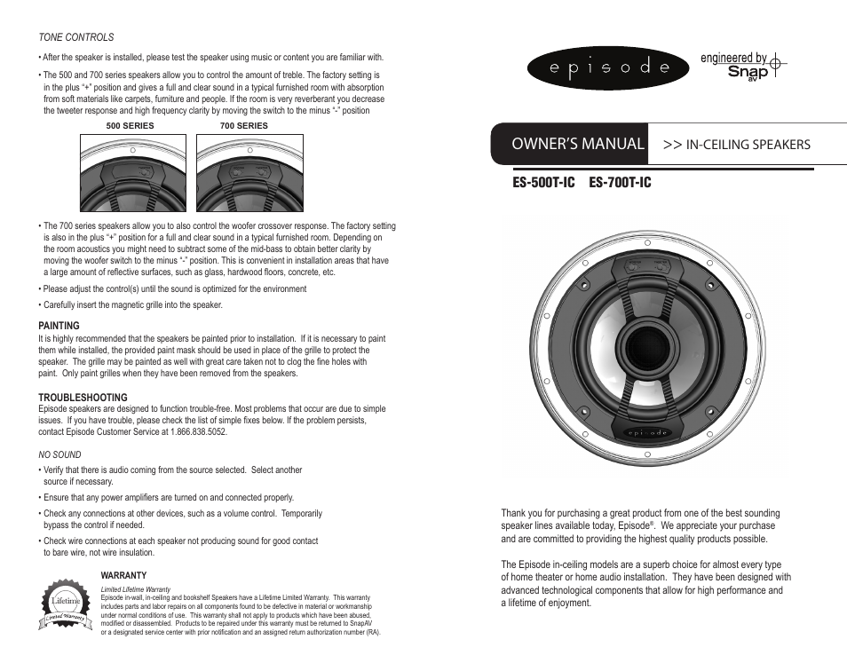 Staub Electronics ES 500T IC 8 EPISODE   500 SERIES THIN BEZEL 8IN IN  CEILING SPEAKER PAIR  User Manual   2 pages   Also for  ES 500T IC 6  EPISODE   500. Staub Electronics ES 500T IC 8 EPISODE   500 SERIES THIN BEZEL 8IN