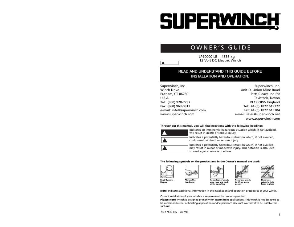 Superwinch Lp10000  U2013 4 535 Kgs  12v User Manual