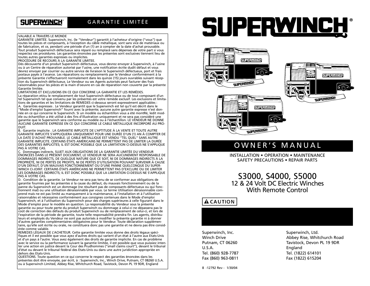 superwinch s3000 1 360 kgs 12v user manual 33 pages original rh manualsdir com