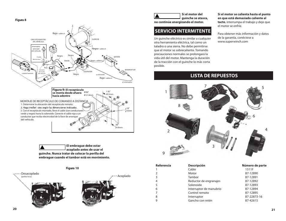 lista de repuestos, servicio intermitente | superwinch lt3000 atv – 1,360  kgs/12v user