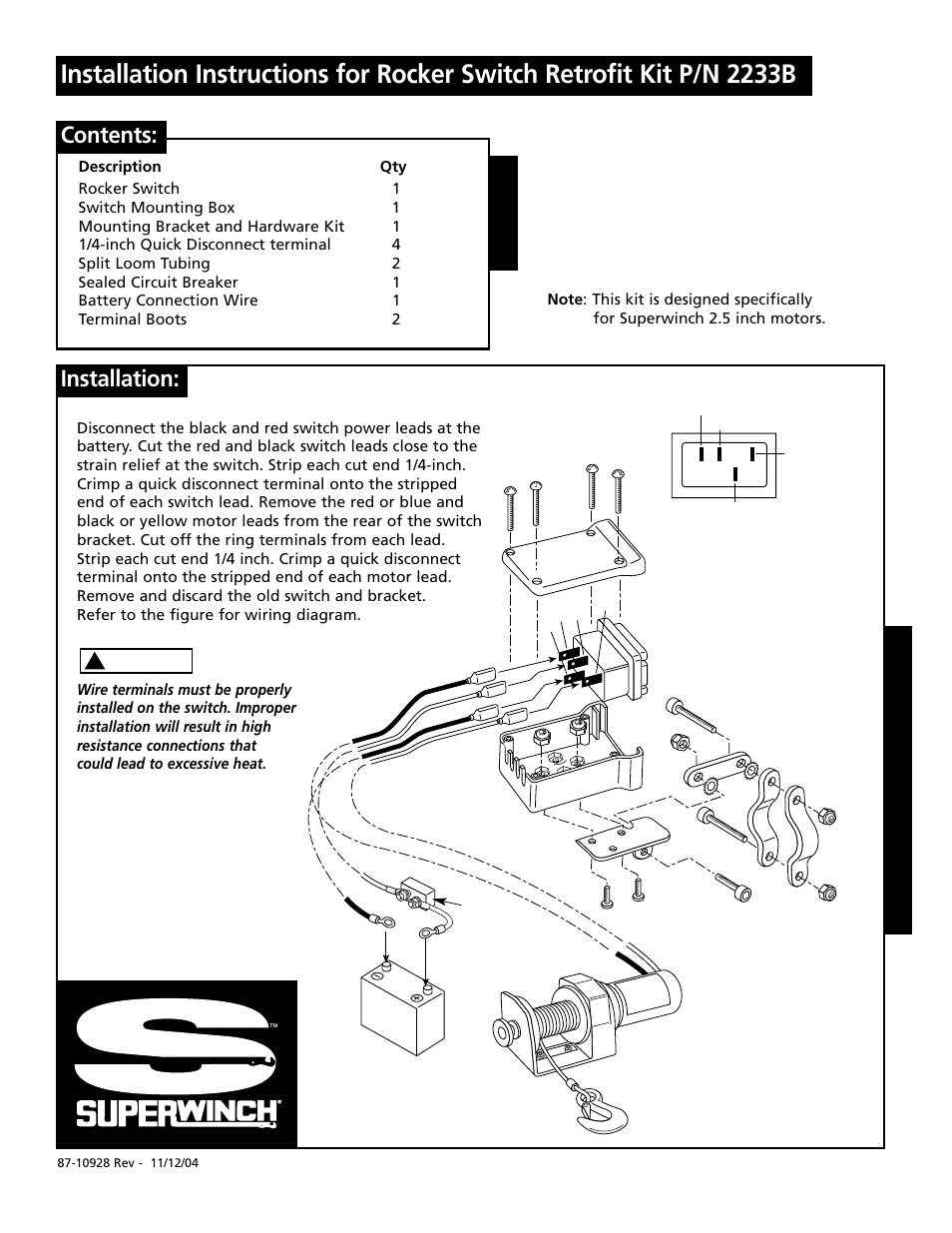Wiring Diagram Superwinch S4000 Library Solenoid 4000 Rocker Switch 2233b Page1 User Manual
