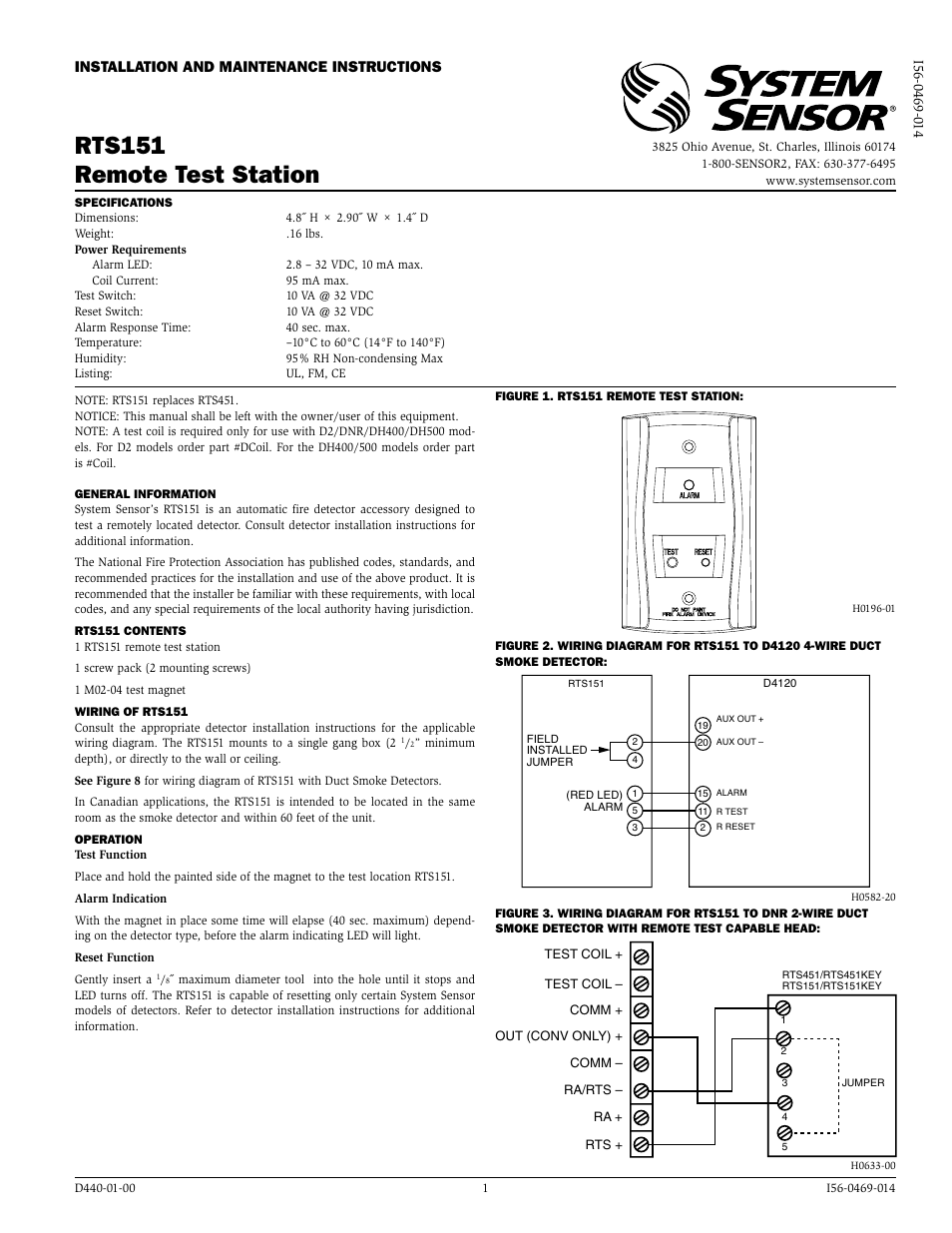 system sensor rts151 page1 system sensor rts151 user manual 2 pages 5R55E Transmission Wiring Diagram at bayanpartner.co