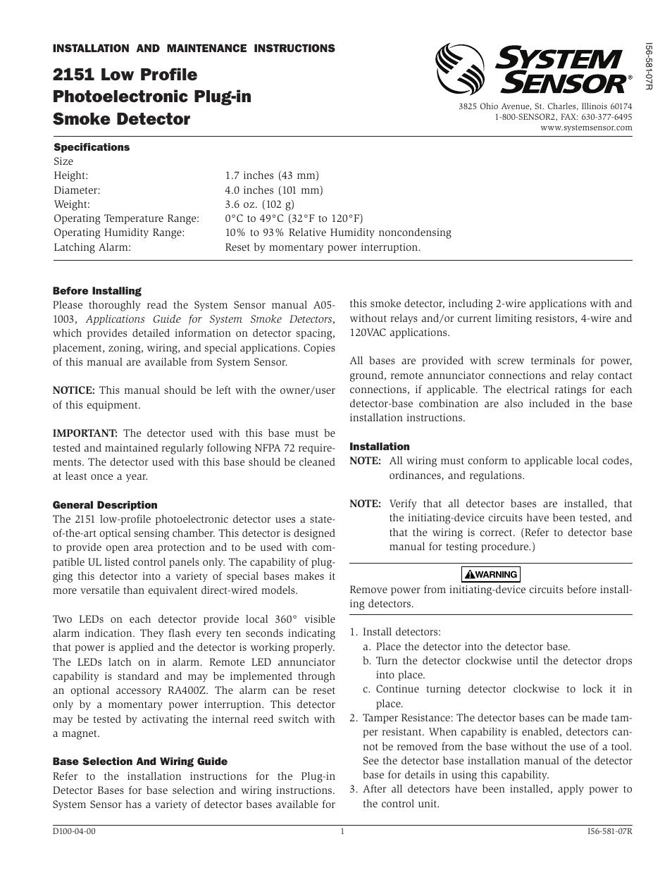 system sensor 2151 old style user manual 4 pages rh manualsdir com