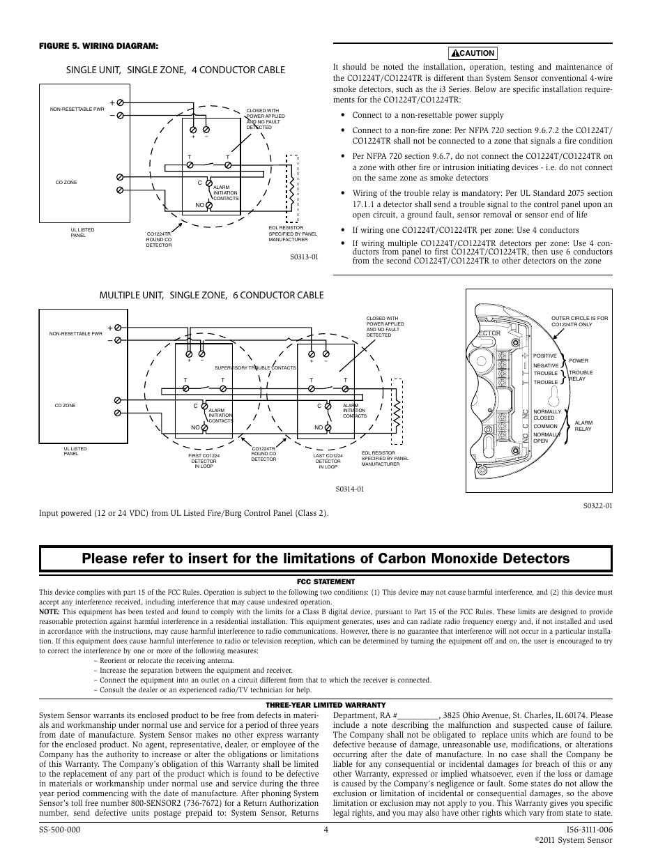 single unit single zone 4 conductor cable multiple unit single single unit single zone 4 conductor cable multiple unit single zone 6 conductor cable system sensor co1224t and co1224tr user manual page 4 4