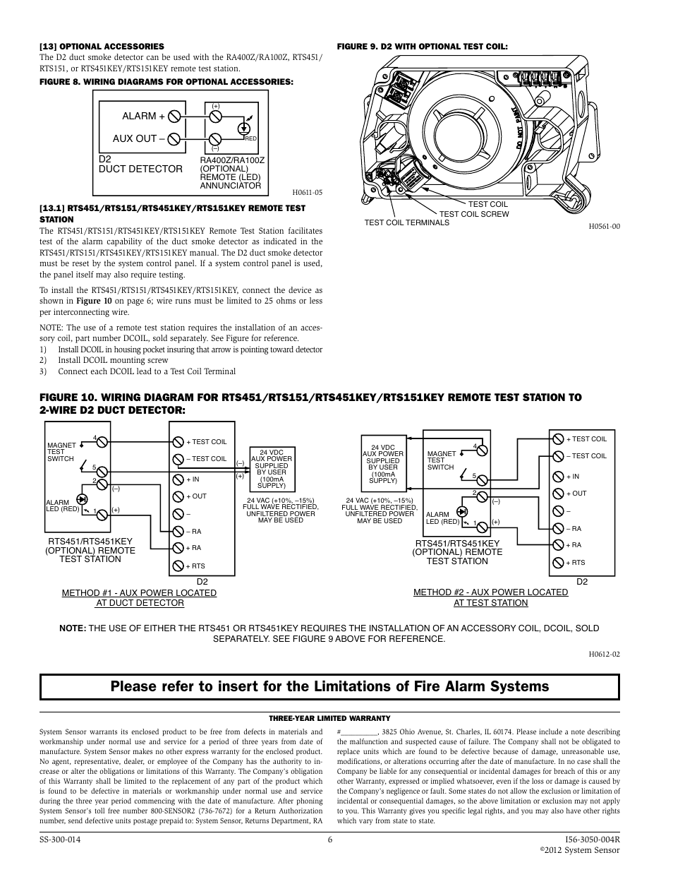 system sensor d2 page6 alarm aux out, d2 duct detector system sensor d2 user manual rts451 wiring diagram at webbmarketing.co