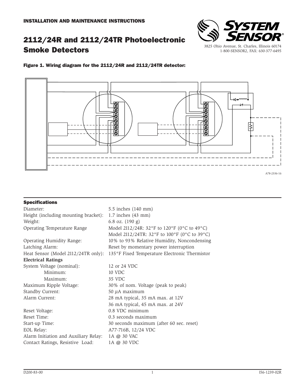 System Sensor 2112 24r And 2112 24tr Photoelectronic User Manual