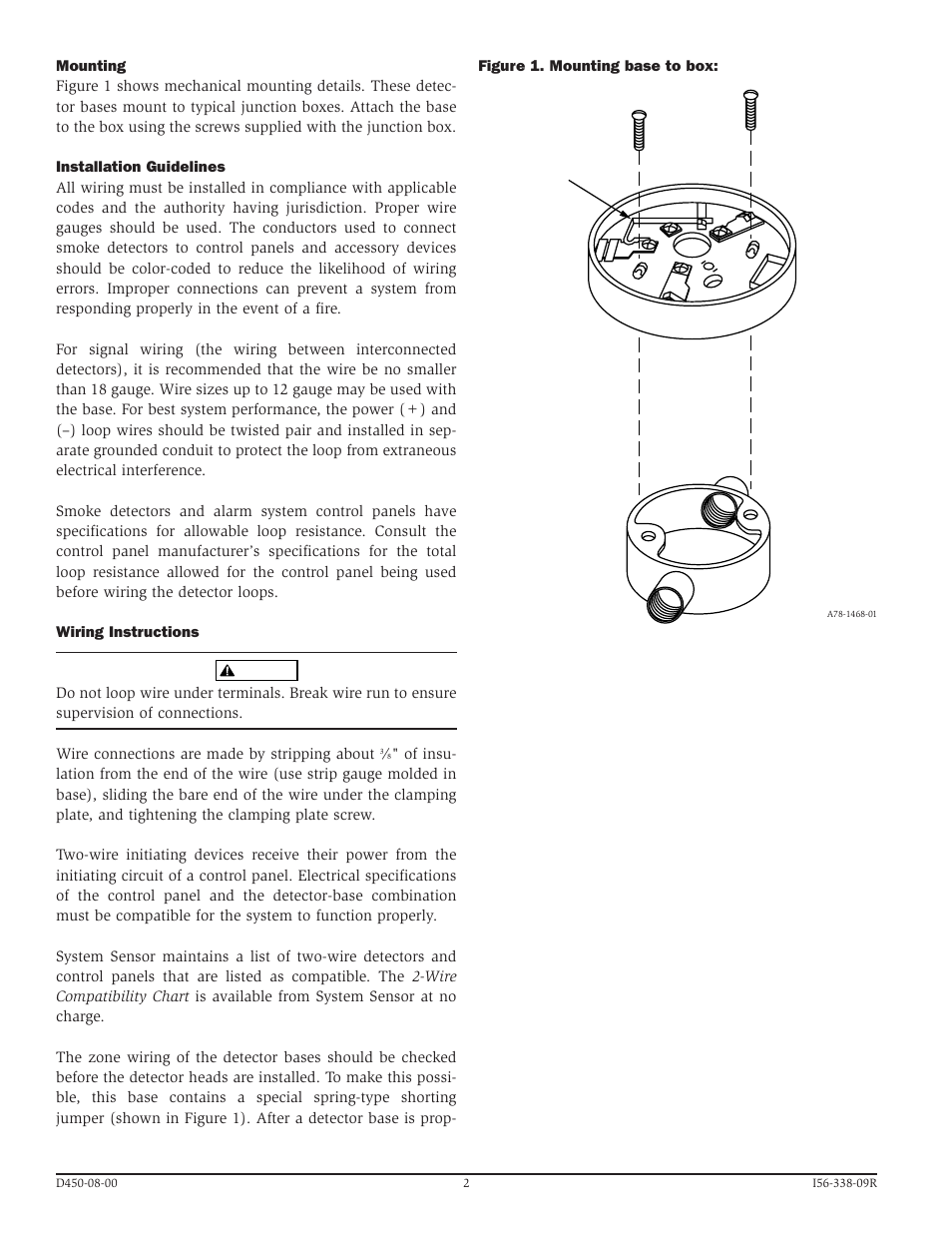 System Sensor B401 User Manual Page 2 4 Electrical Loop Wiring