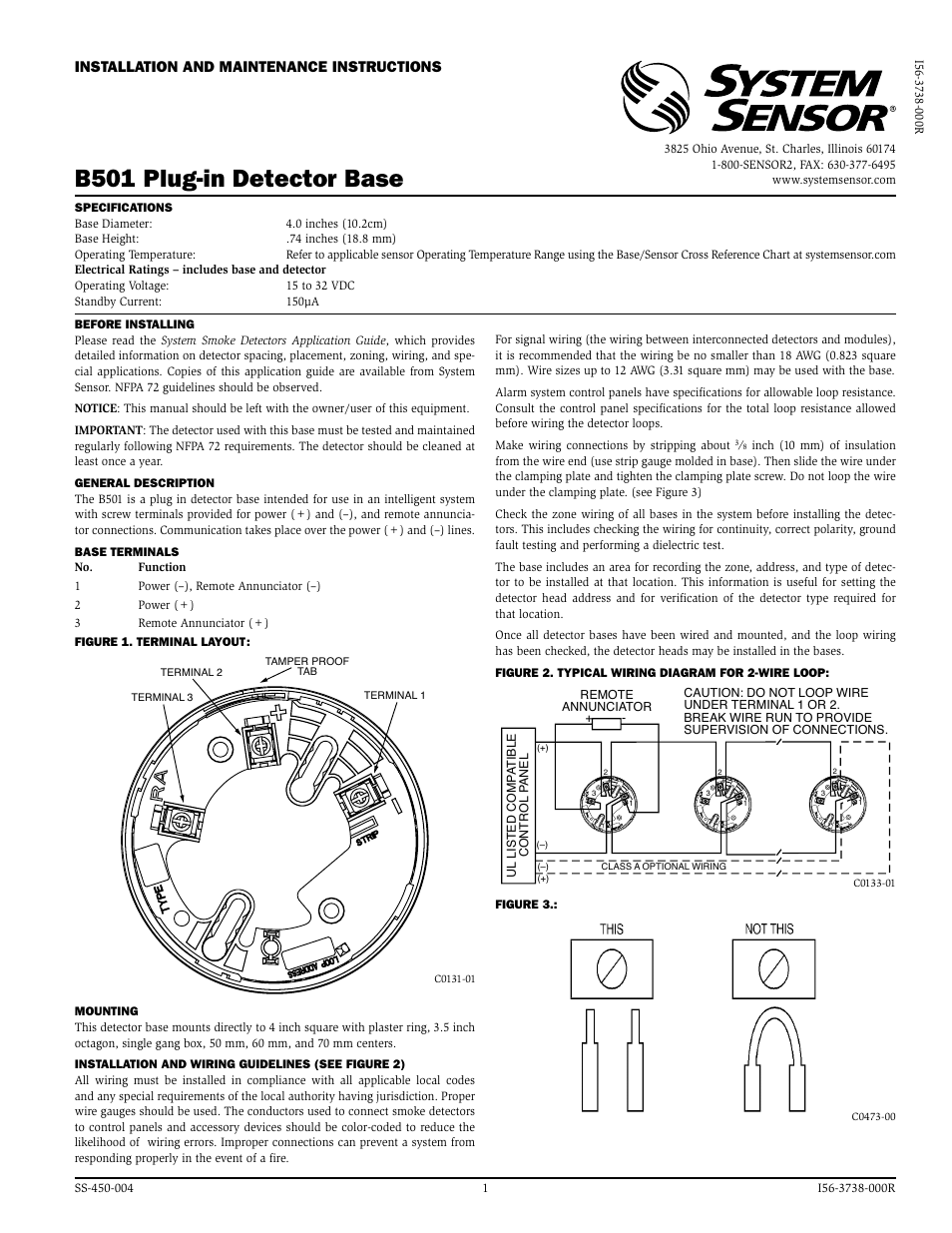 System Sensor B501 User Manual   2 pages