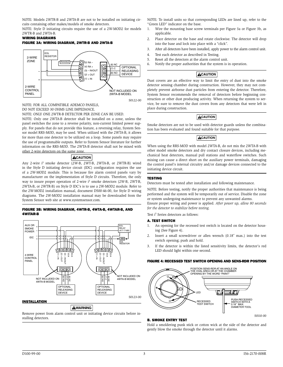 System Sensor I3 Series Thermal Detectors User Manual Page 3 4 2wire Smoke Detector Wiring Diagram