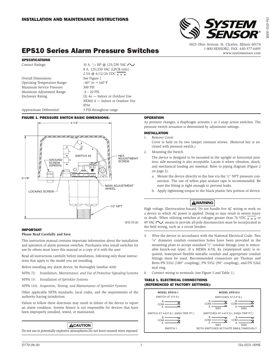system sensor eps10 1 and eps10 2 page1 system sensor eps10 1 and eps10 2 user manual 2 pages 5R55E Transmission Wiring Diagram at bakdesigns.co