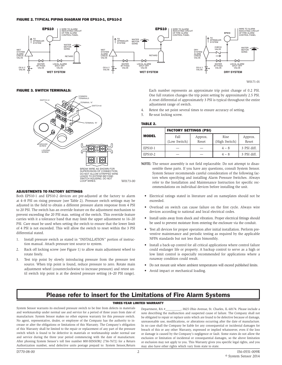 system sensor eps10 1 and eps10 2 page2 figure 3 switch terminals, eps10 system sensor eps10 1 and system sensor dh1851ac wiring diagrams at panicattacktreatment.co