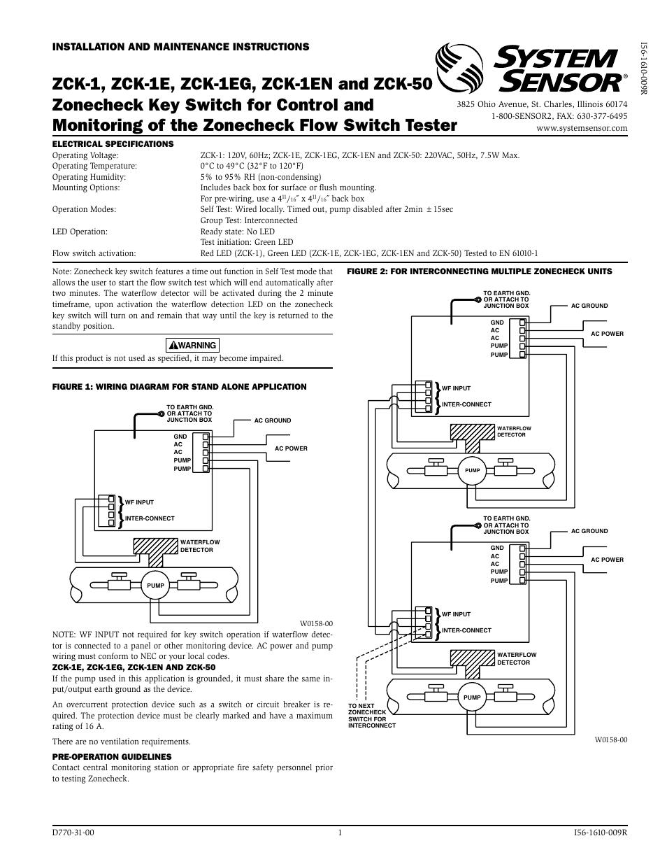 system sensor zck 1 user manual 2 pages  system sensor wiring diagram #13
