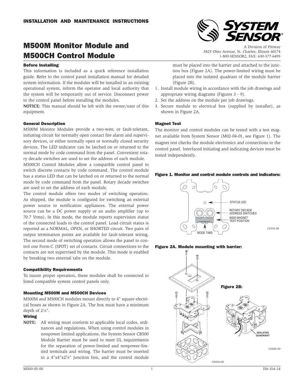 system sensor m500ch page1 system sensor m500ch user manual 4 pages 5R55E Transmission Wiring Diagram at bayanpartner.co