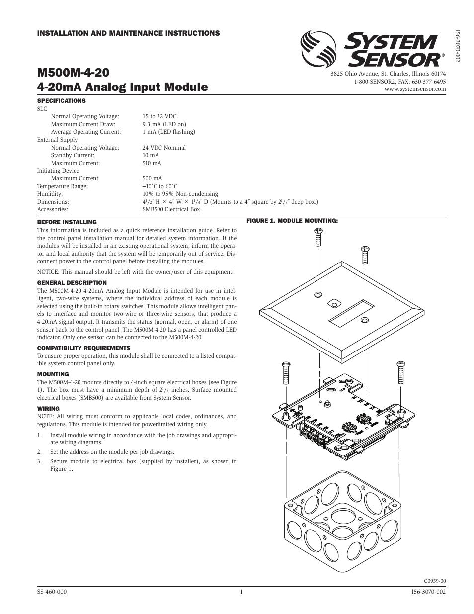 System Sensor M500m 4 20 User Manual 2 Pages Led Module Wiring Diagram