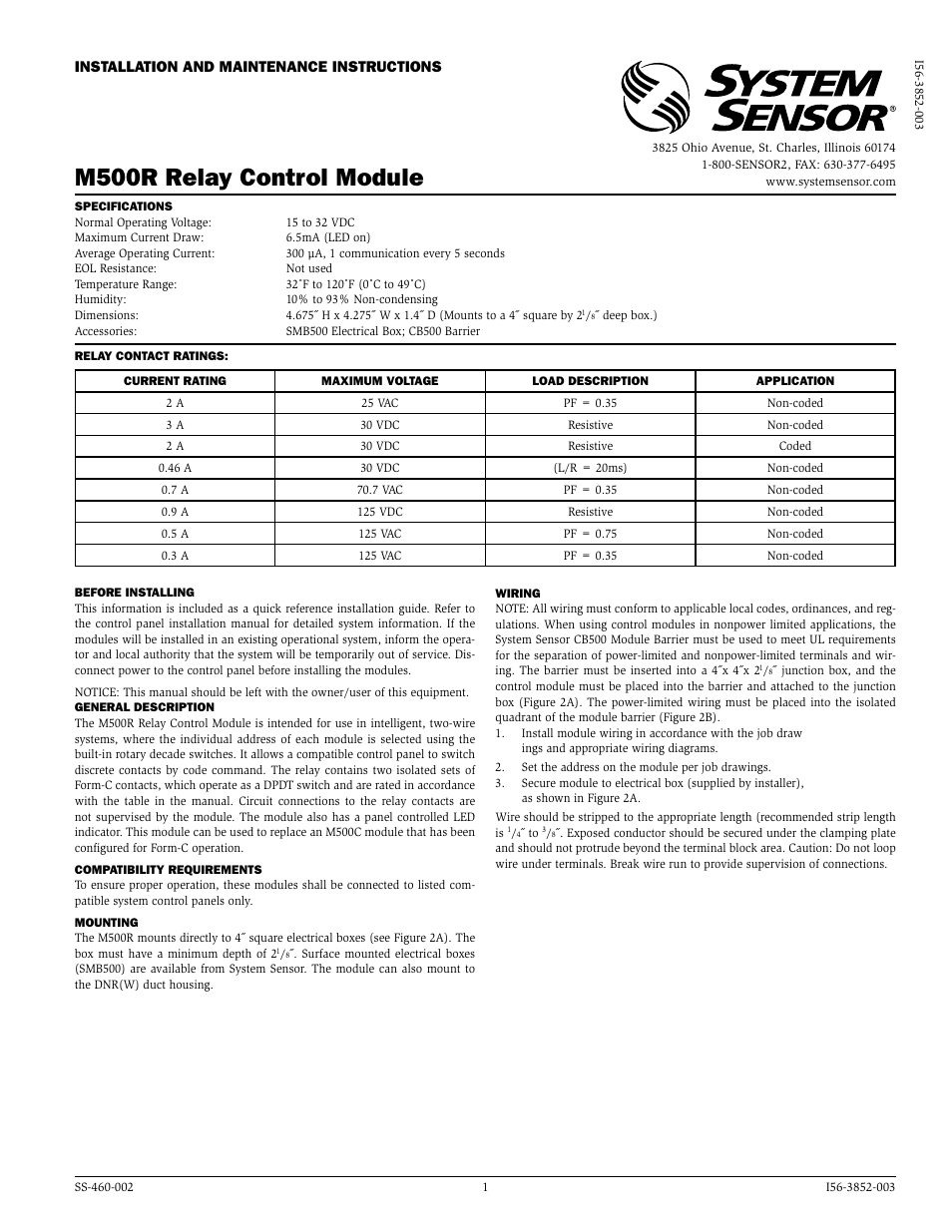 system sensor m500r page1 system sensor m500r user manual 2 pages system sensor dnr wiring diagram at edmiracle.co