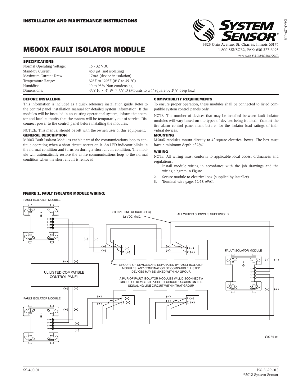 System Sensor M500x User Manual 1 Page A Short Circuit Occurs When