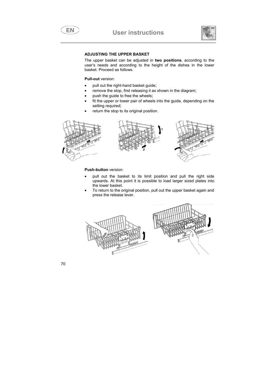 User instructions | Teka DW7 80 FI User Manual | Page 20 / 24
