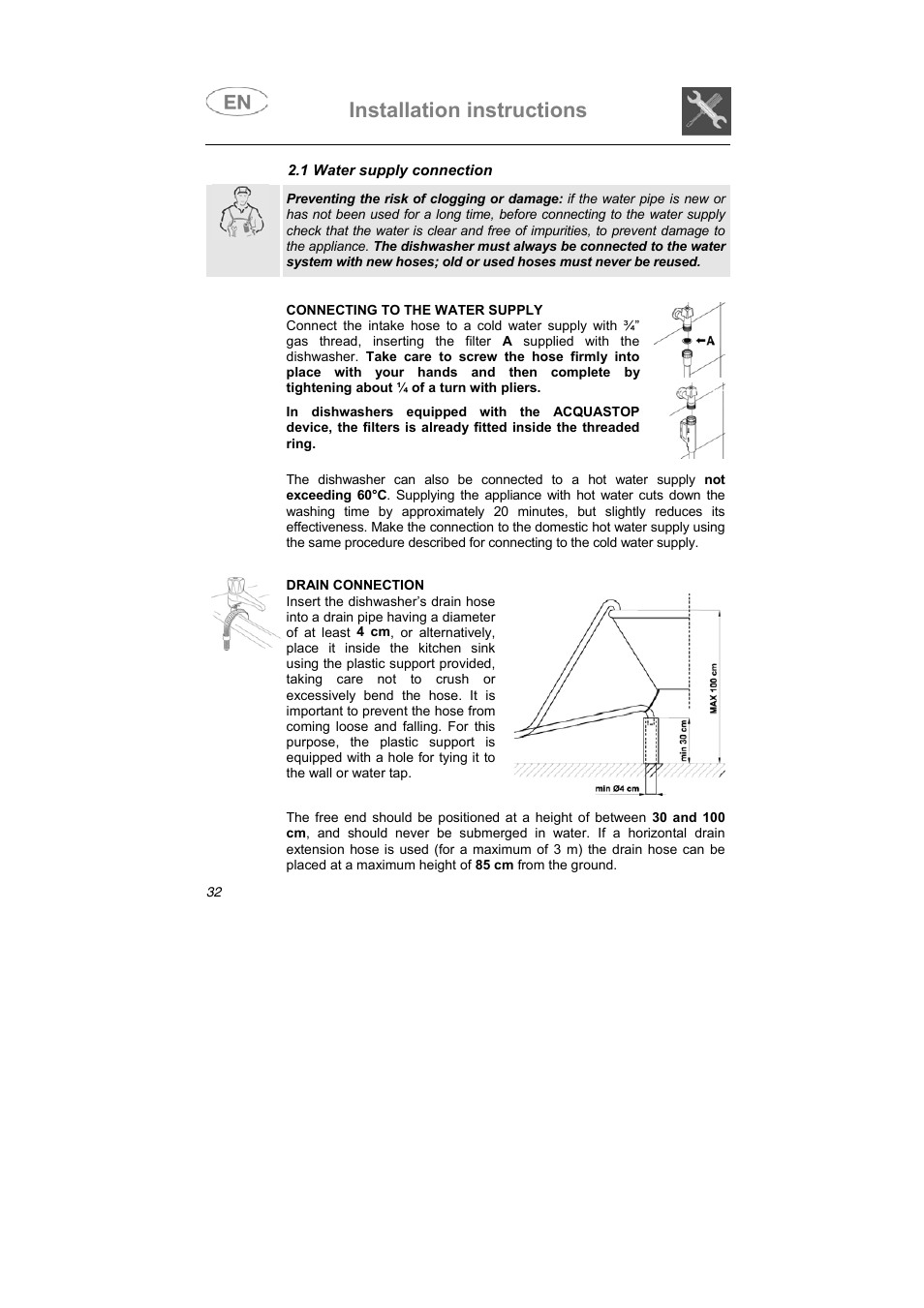 Installation instructions | Teka DW7 45 FI User Manual | Page 6 / 24