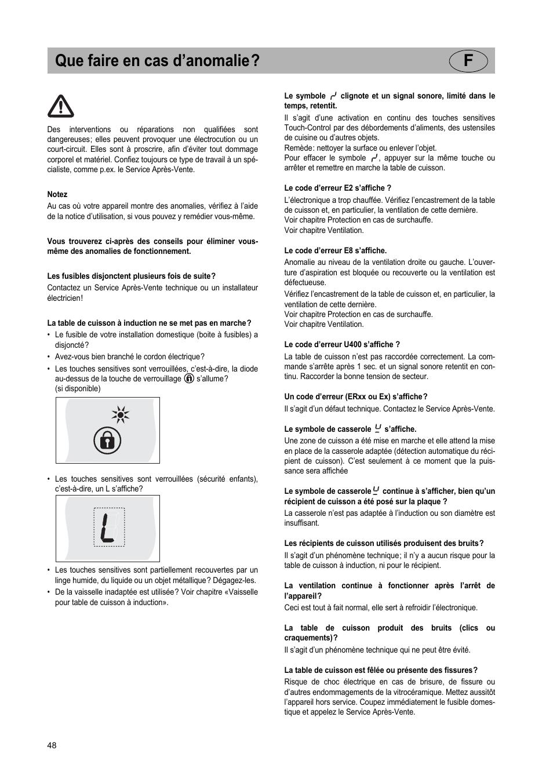 Table Induction Ou Vitrocéramique que faire en cas d'anomalie? f | teka ir 950 user manual
