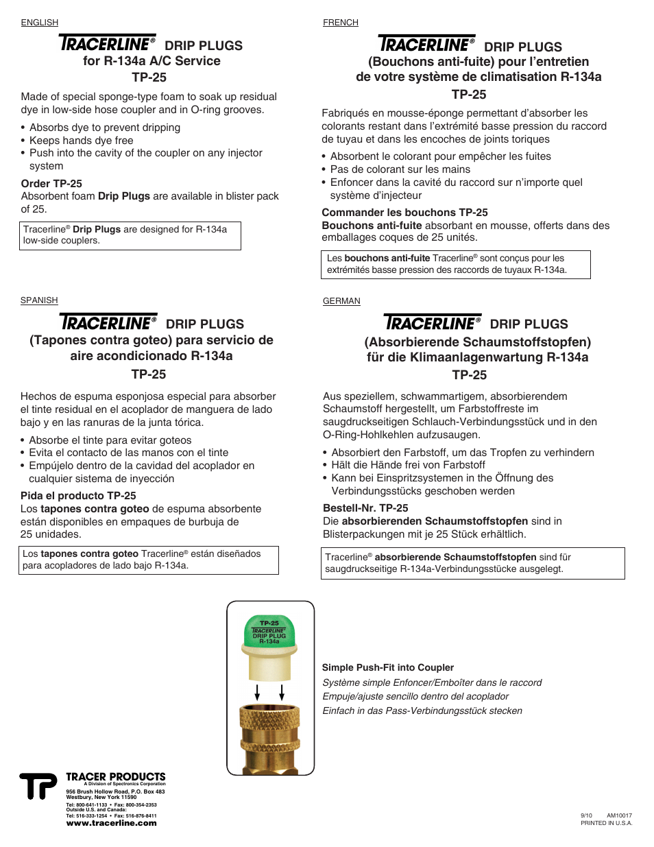 Tracer Drip Plugs TP-25 Tracerline M-L AM10017 User Manual   1 page ...
