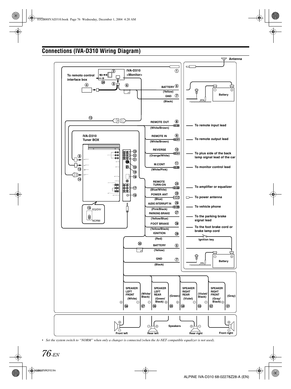 Connections (iva-d310 wiring diagram) | Alpine IVA-D310 User Manual | Page  78 / 253