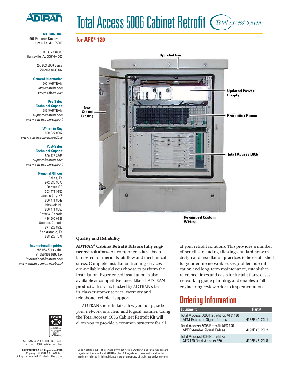 Total Access 5006 Cabinet Retrofit Ordering Information