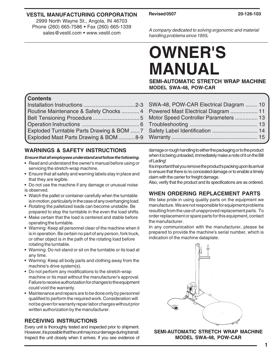 Vestil SWA-48 User Manual | 16 pages | Also for: POW-CAR