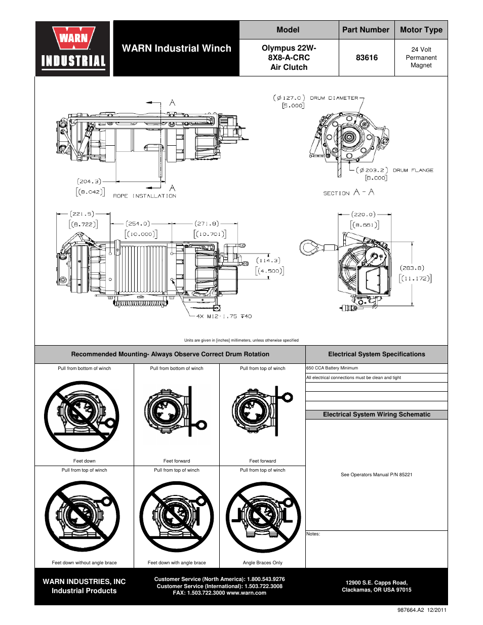 warn industrial winch | warn olympus 22 22w-8x8-a-crc user manual