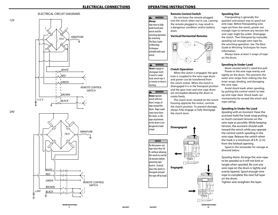 Electrical connections, Operating instructions | WARN M8274 ... on