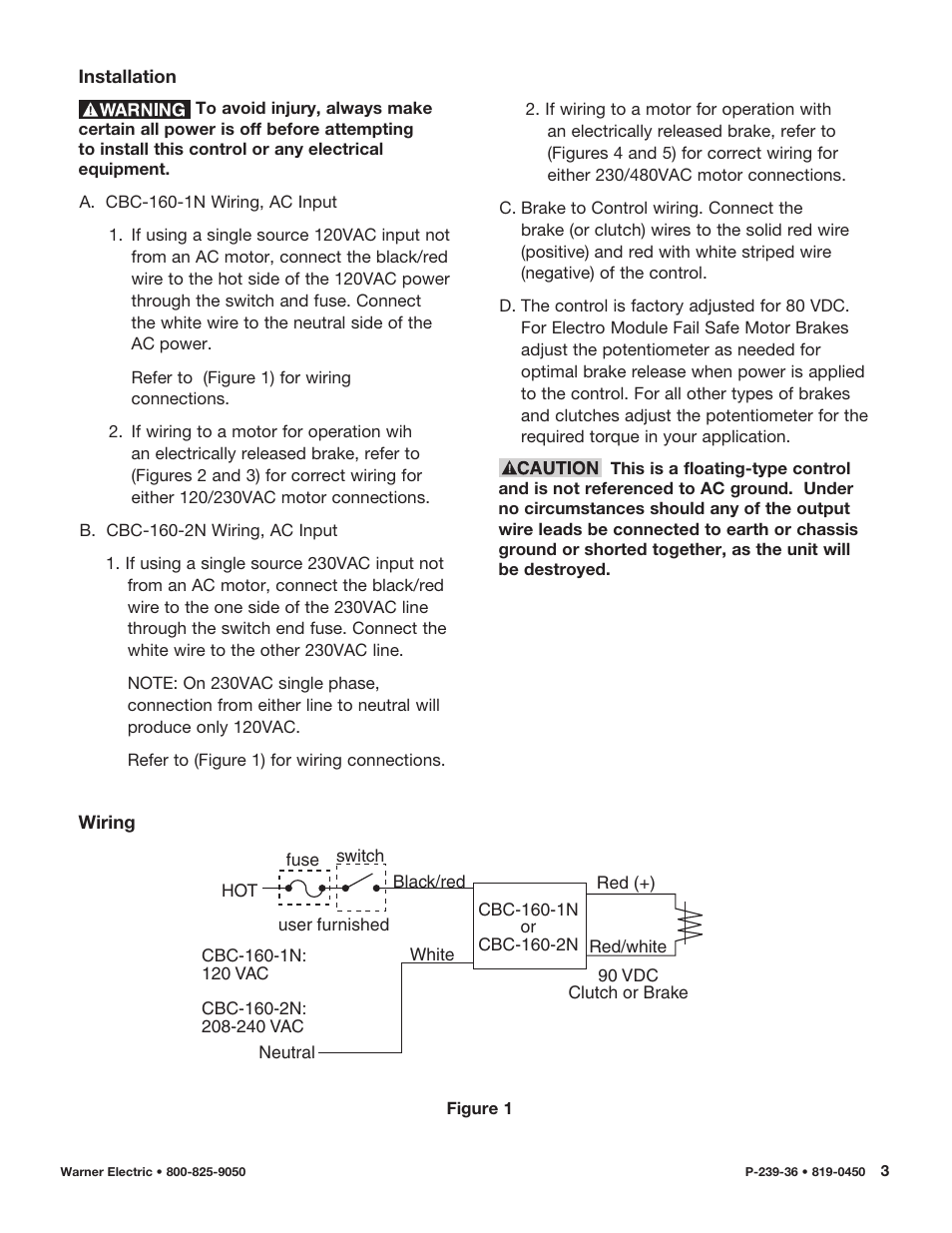 Warner Electric Cbc 160 2n User Manual Page 3 6 Also For Ac Motor Wiring Red Black White Blue 1n
