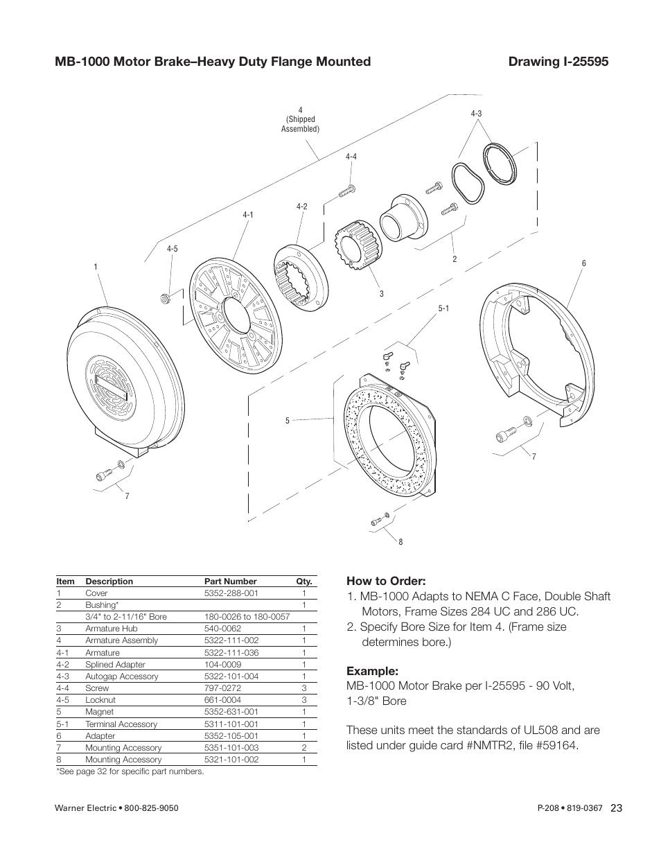Warner Electric Primary Brake Pin Drive Armature Pb 825 1000 Mb Engine Diagram 1225 1525 Motor And Spline User