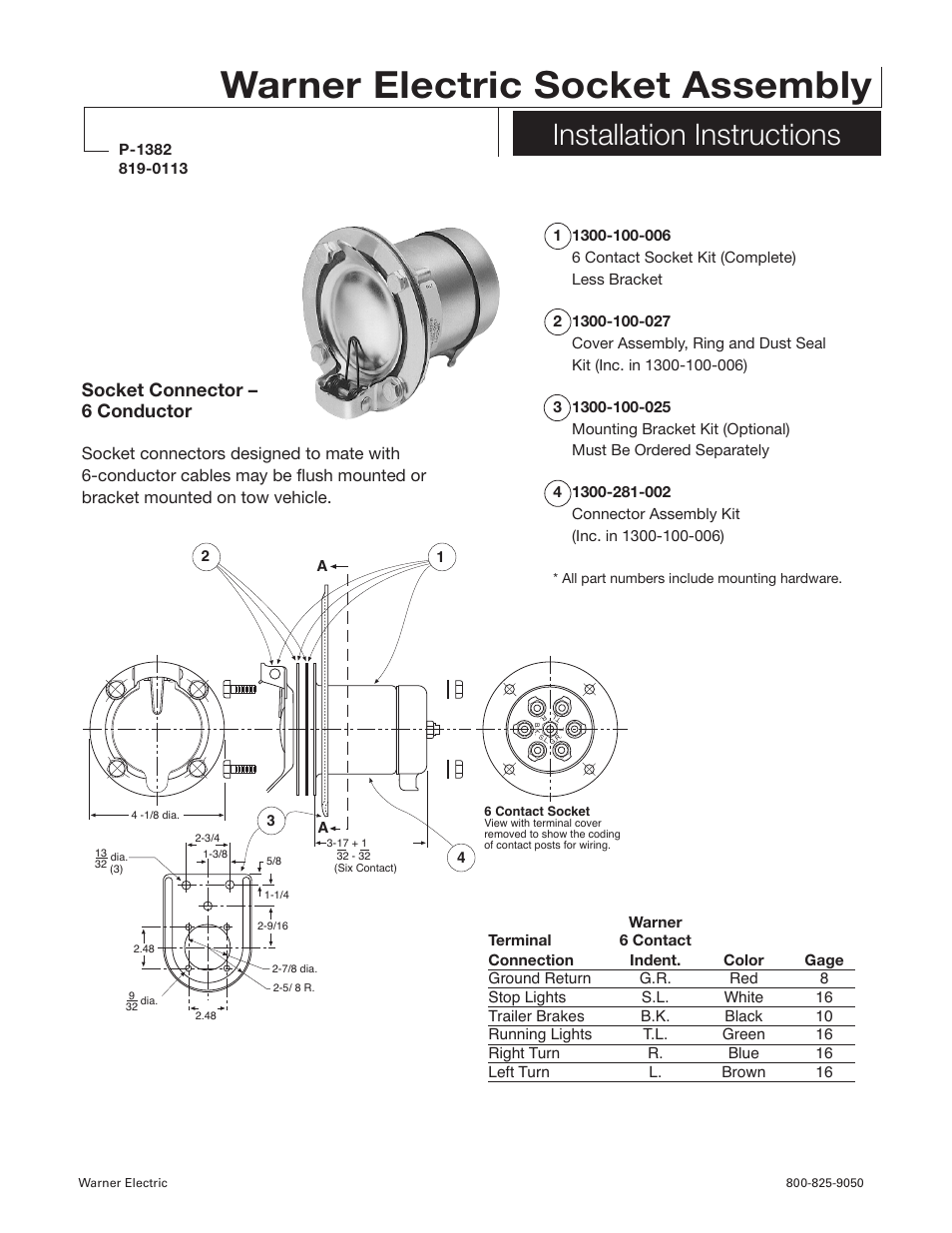 Warner Electric Socket Assembly Installation User Manual How To Wire An Electrical Outlet Wiring Wall Diagram 3 2 Pages